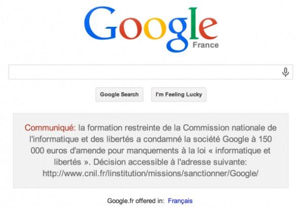 谷歌违反法国隐私法遭罚款15万欧元 并在网站主页发布声明