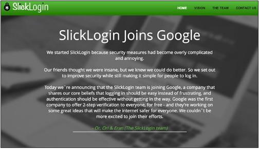 谷歌收购以色列安全公司SlickLogin