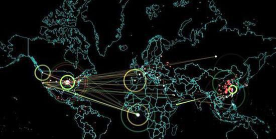 """在这张世界地图上,各种不同颜色的亮点、光线以及区域不断交错在一起,说明黑客之间的攻击活动一直在持续。根据 Norse Attack Map 网站的统计数据显示,中国的攻击频率、次数是最高的,属于最大的攻击源头,第二名则在美国和土耳其之间不断交替更换,西班牙紧紧跟在后头。 而在被攻击源方面,美国则牢牢占据了头把交椅,第二名则是西非海上的一个名为""""Mil/Gov""""的神秘地点,我们无法在互联网上查到这个被攻击区域的详细资料,但是需要注意的是,这是由美国人建立的一个非常庞大的海底数据中心,"""